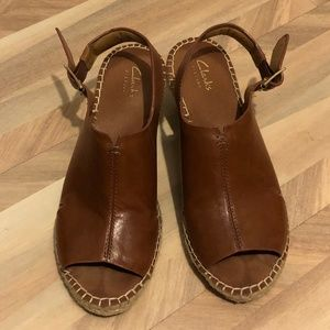 fbe84db99ea Clarks Shoes - Clarks Artisan Petrina Meera Leather Wedge Sandals